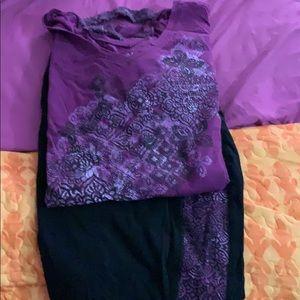 Catherine's purple & black Capri with shirt